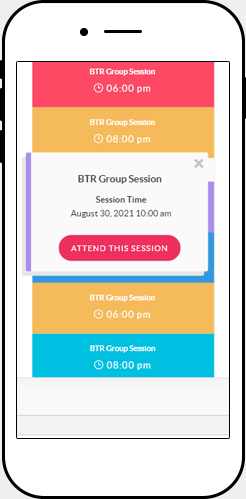 BTRG Sessions on mobile device
